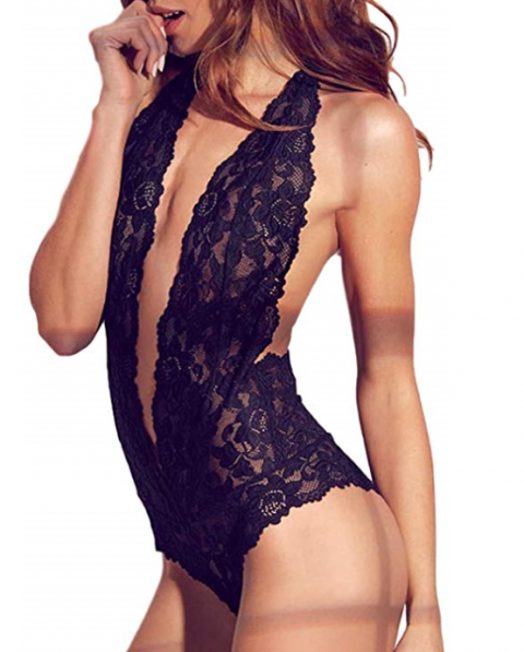 black lace lingerie bodysuit