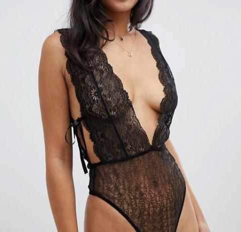 Black Plunge Lace Bodysuit Teddy