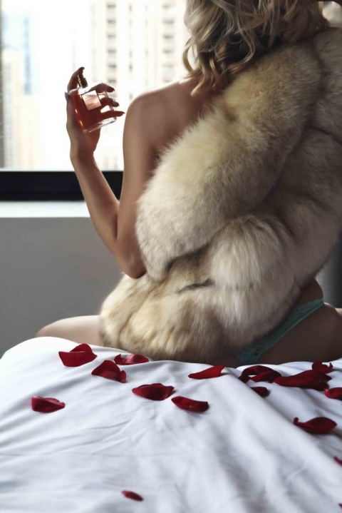 boudoir props perfume and fur coat